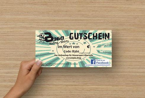 B360 Wertgutschein auf Postkartenpapier