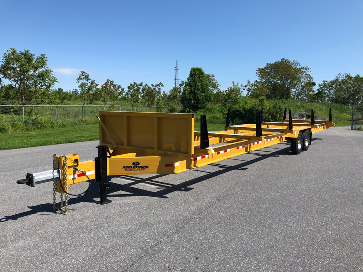 STICK PIPE TRAILER w/ NON-BINDING EASY SLIDE ADJUSTABLE STANCHIONS and POLYURETHANE PLASTIC SEAT PROTECTION