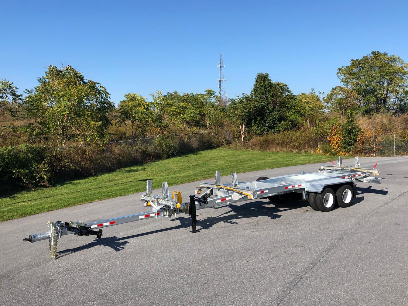 PT30 Transmission Pole Trailer w/ LIFETIME WARRANTY MEGA-ROLLER w/ Self-Securing Securelock (Custom Extra Long w/ Adjustable Front Bolster Shown)