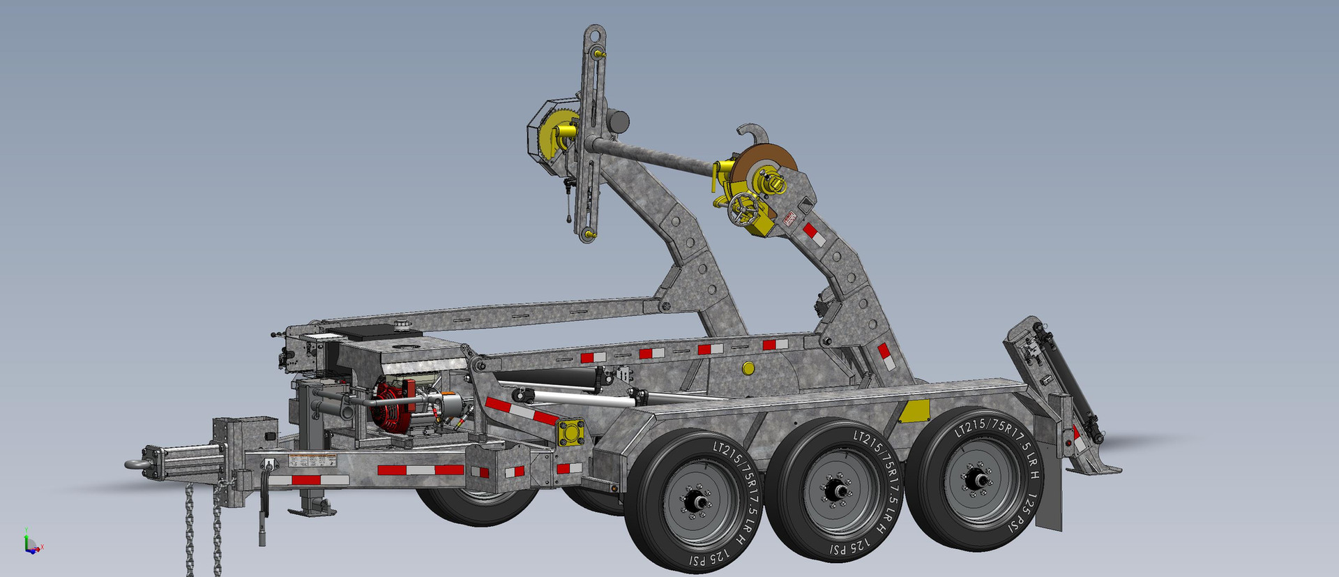 New for 2021. Knuckled Down Lift Arm for Low Center of Gravity 20K Capacity Pinless Reel Trailer. ALL ENGINE COVERS  STANDARD.