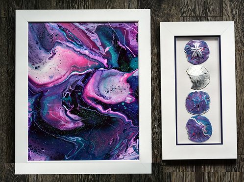 Purple Crab Nebula and Sand Dollar Shadow Box