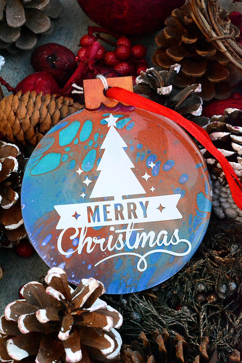 Merry Christmas with Sand Dollar - Christmas Ornament
