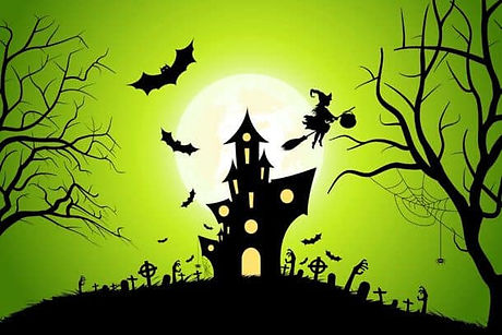Halloween-Background-With-Whitch-And-Hau