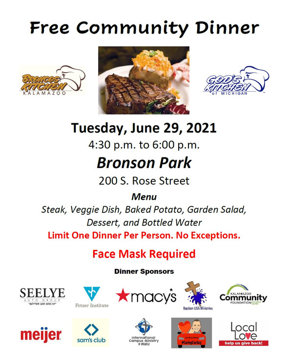 Big Give Wednesday Dinner Menu Bronson P