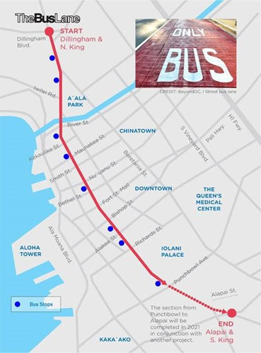 Map of the King Street bus-only lane