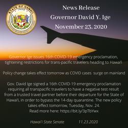 Gov. Ige issues 16th COVID-19 emergency proclamation