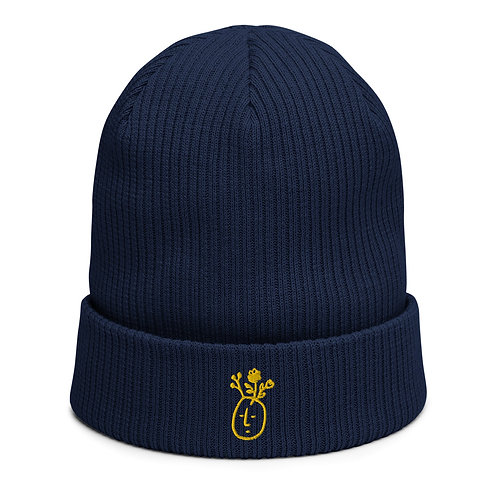 Peace on Earth - Organic Navy Blue Ribbed Beanie