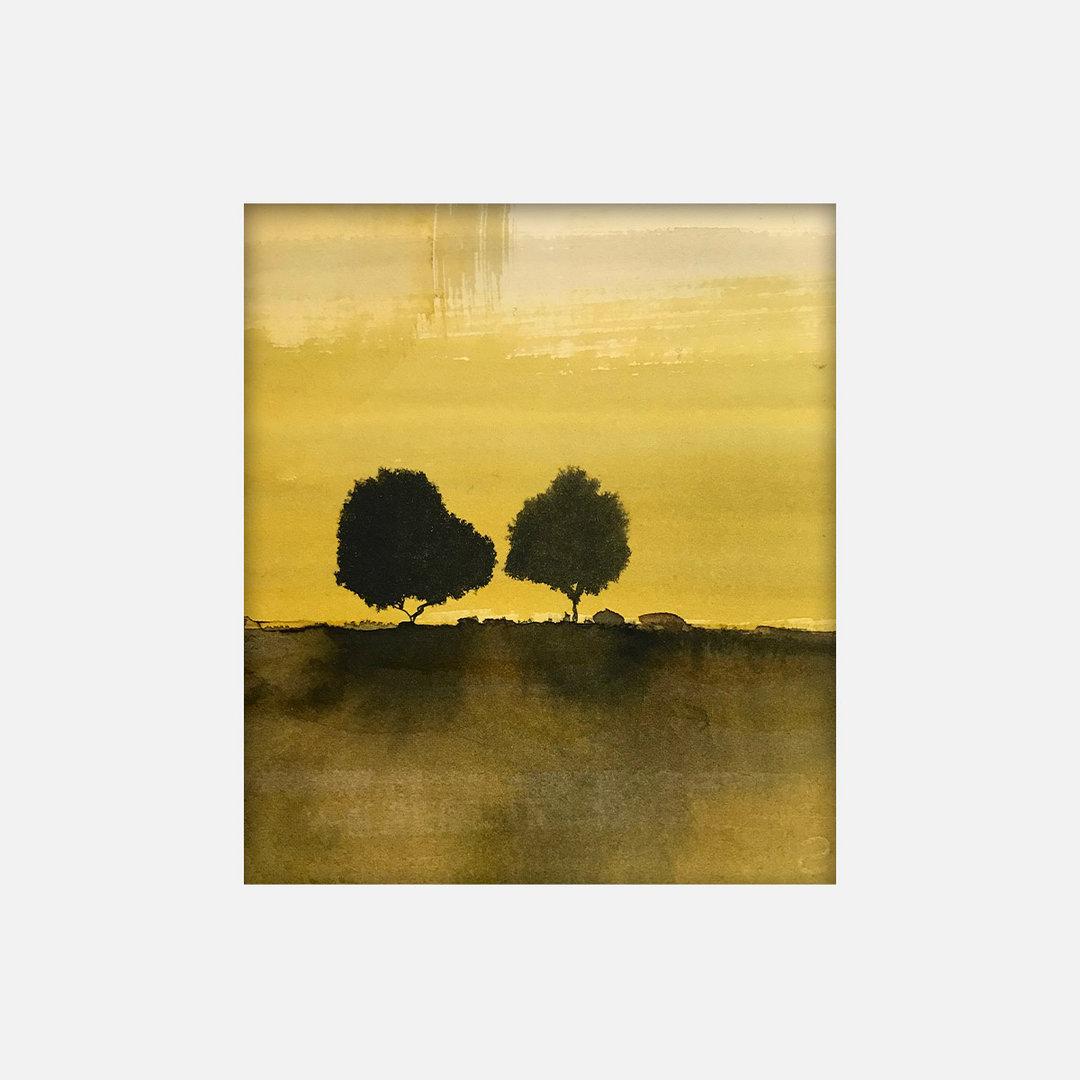 30X27cm- Deux arbres d'automnne
