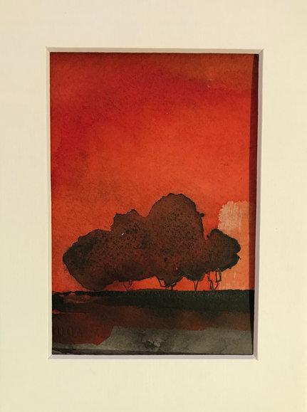 arbres noirs sous ciel rouge