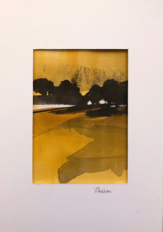 40X27cm - Paysage jaune