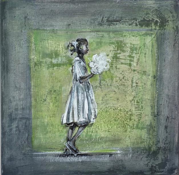 50X50cm -petite fille au bouquet blanc