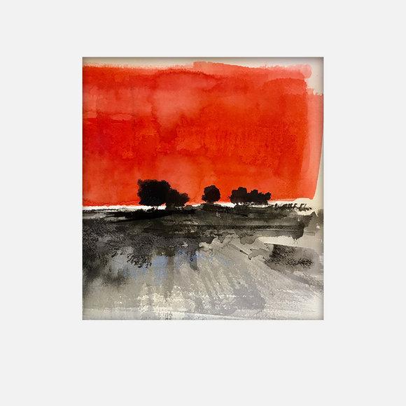 30X30cm - paysage rouge