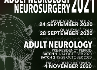Neuro Dept is calling for residency & fellowship applicants for 2021 (post updated Sep 21)