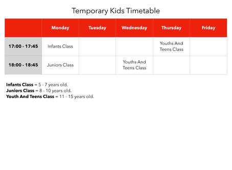 Kids Temporary Timetable
