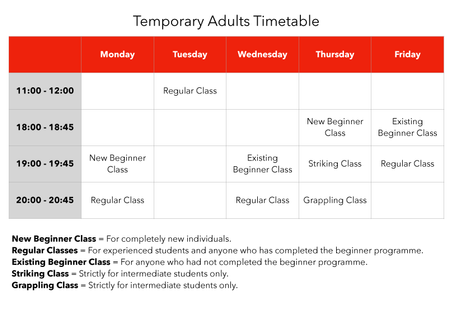 Adults Temporary Timetable