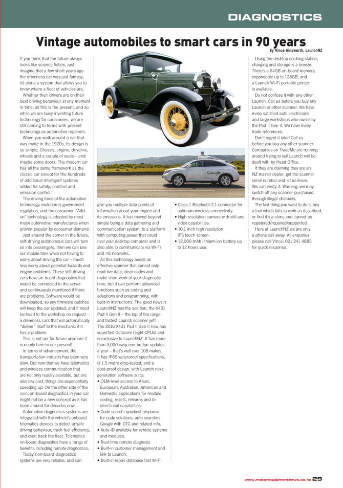 Vintage automobiles to smart cars in 90 years
