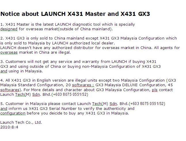 NOTICE ABOUT LAUNCH X431 MASTER and X431 GX3