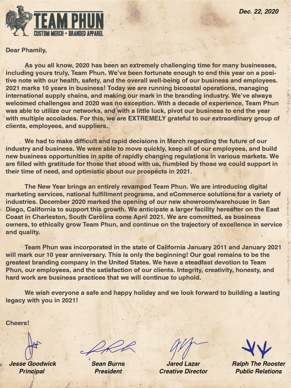 A Note From the Owners to our Phamily