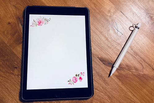 Note Paper Pink Floral