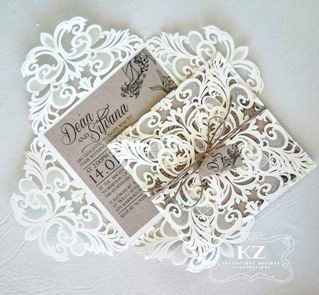 A lasercut invitation we created for a beautiful bride and dear friend 💞💌_#weddinginvitations #las