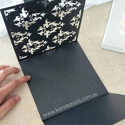 A custom lasercut design we created for the beautiful Amanda❤ _#pocketinvitations #pocketfoldinvitat