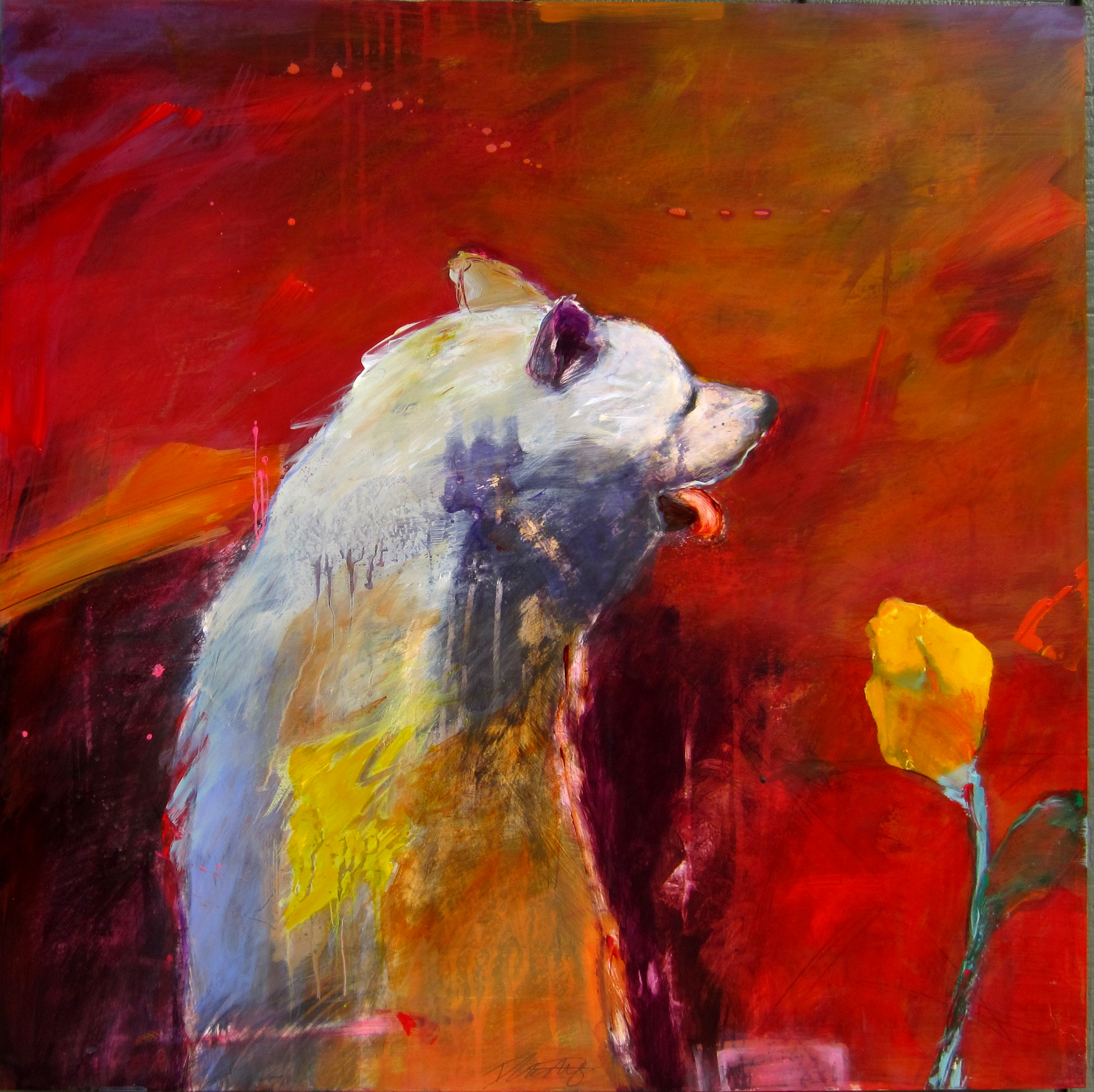 Wolf with Yellow Rose