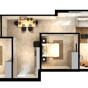 Black Brick Floor Plan Unit 3-007 [High