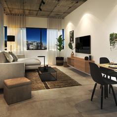 Black Brick One Bedroom Living [High Res