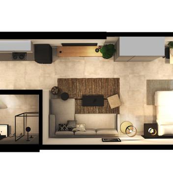 Black Brick Floor Plan Unit 1-015 [High