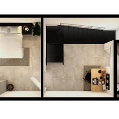 Black Brick Floor Plan Unit 4-030 Mez [H