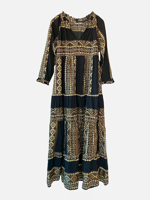 Long Embroidered Dress Black/ Gold