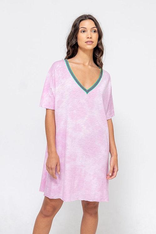 Pitusa Tie Dye V-Neck Kleid Mauve