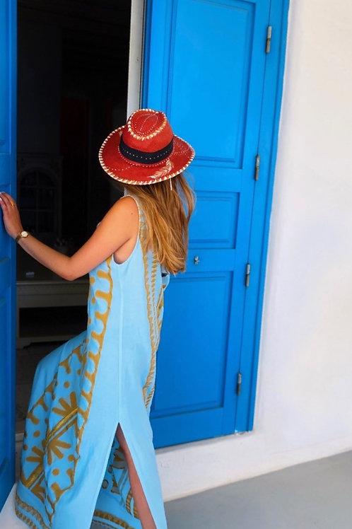 Langes Kleid in Himmelblau mit Gold-Details