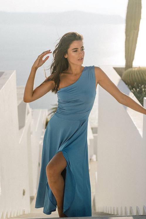 Anna Samouka One-Shoulder Kleid blau
