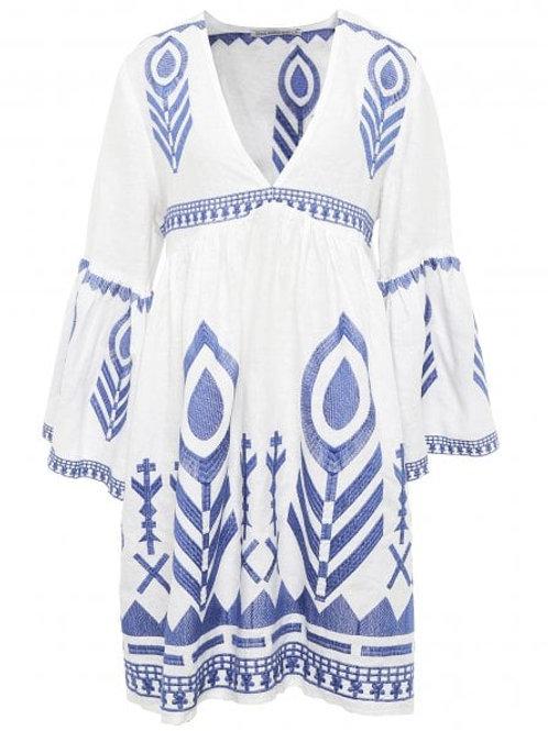Midi Linen Feather Dress White/ Blue