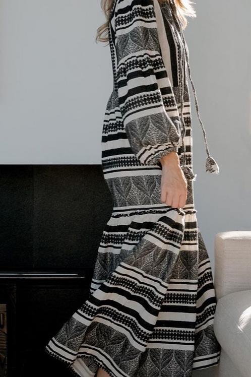 Pearl and Caviar Zakar Maxi Kleid in schwarz/weiss