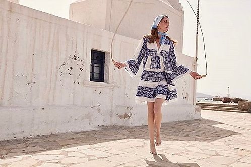 Short embroidered dress 'hydra' white/blue