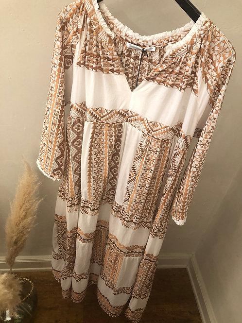 Kori Baumwoll-Maxi-Kleid mit Bronze-Stickerei