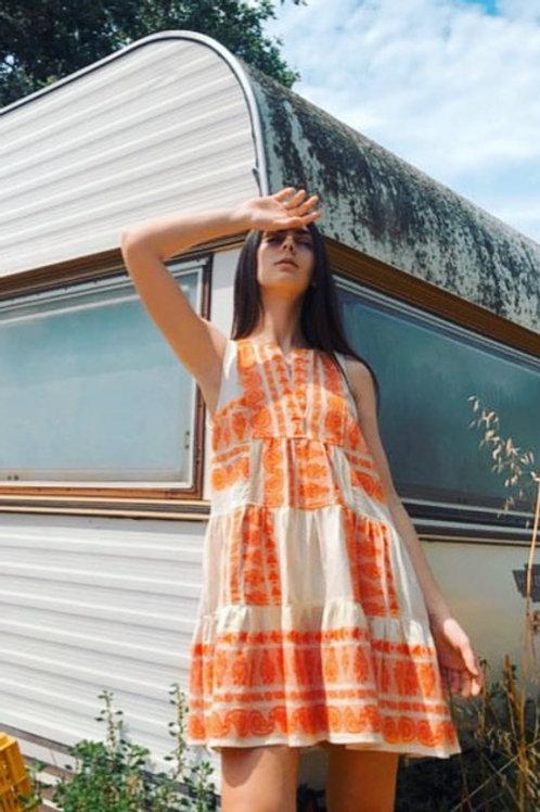 Nema kurzes ärmelloses Kleid Orange