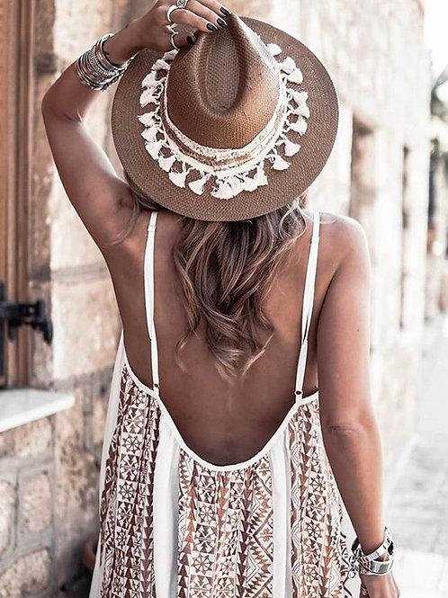 Kori rückenfreies Kleid mitBronze-Stickerei