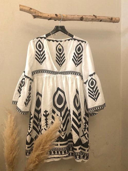 Kori Linen Feather Dress Mini white/black