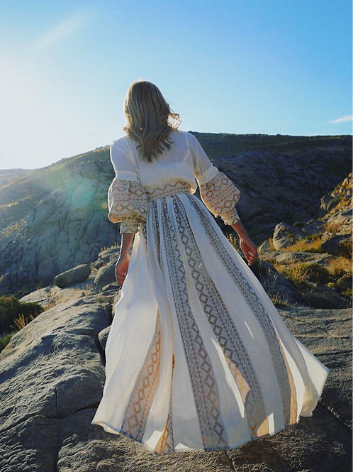 Lace Kimono Kleid in creme/ gold