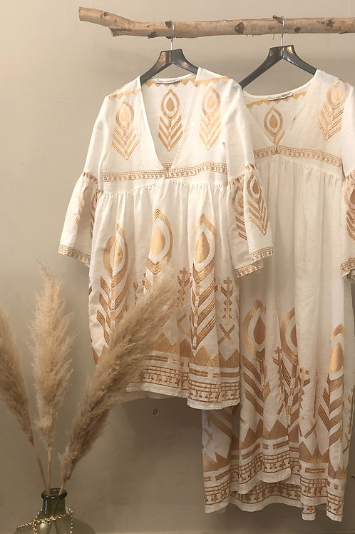 Kori Linen Feather Mini Dress weiss/ gold