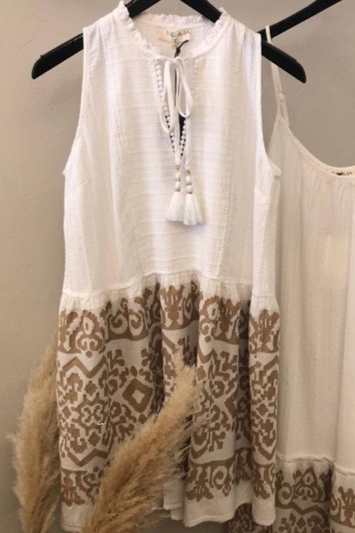 Nema weisses Kleid mit beigen Details
