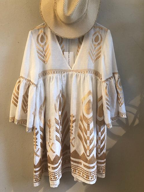 Kleid 'linen feather dress' kurz weiss/ gold