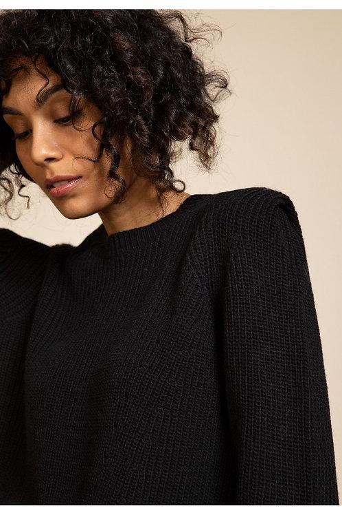 Pullover im Perlenstrick mit Rundhals schwarz