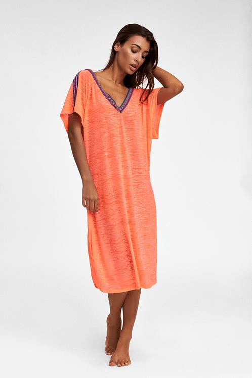 Pitusa V-Back Dress Coral