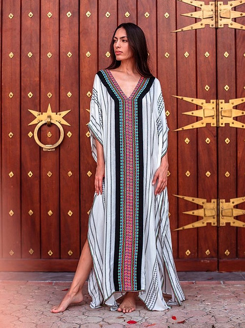 Kaftan Indian Thobe black/ white