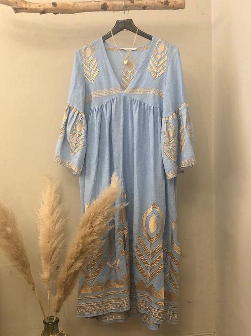 Kori Linen Feather Dress Midi himmelblau/gold