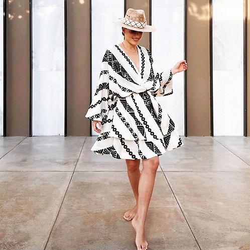 Tunika-Kleid 'Zaka' schwarz-weiss